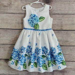 Sweet Heart Rose Blue & White Floral Dress - 6X